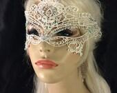 Swarovski Crystal Rhinestone White Lace Mask, Masquerade Ball, Eyes Wide Shut, Fetish Mask, Black or Off White