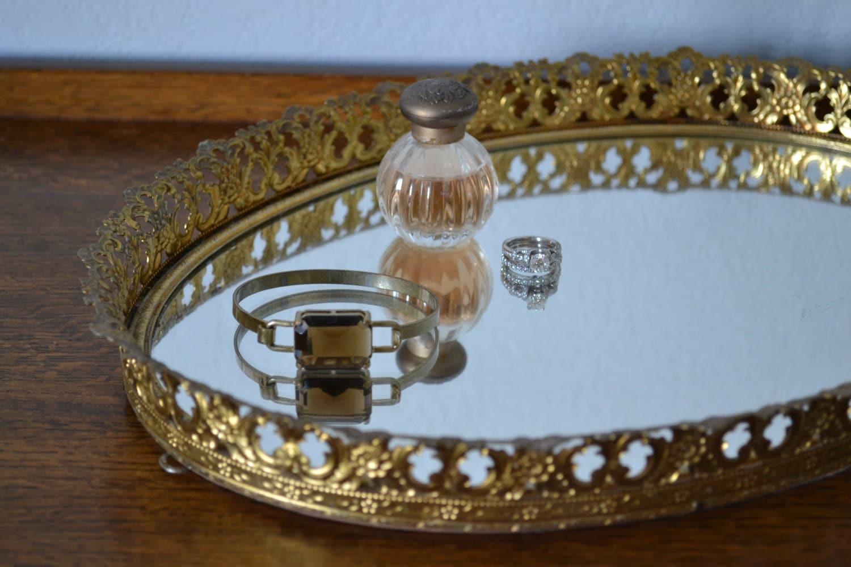 Vintage Oval Vanity Tray / Ornate Brass Gold By