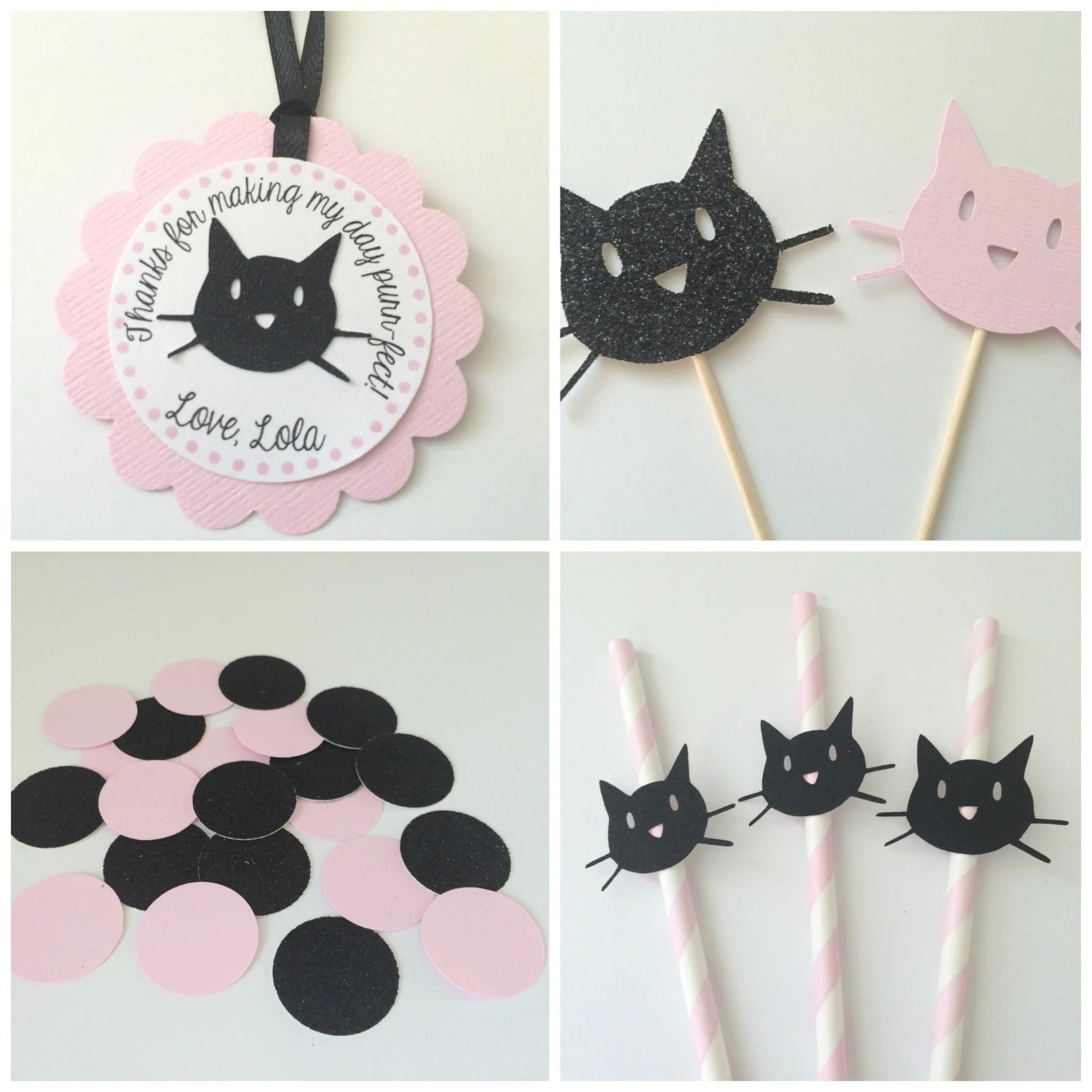 Pink And Black Kitty Cat Party Package Black Glitter