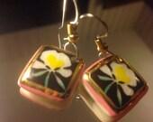 Orchid Flower Square Ceramic Gold Enamel Dangle Earrings | 80s Vintage