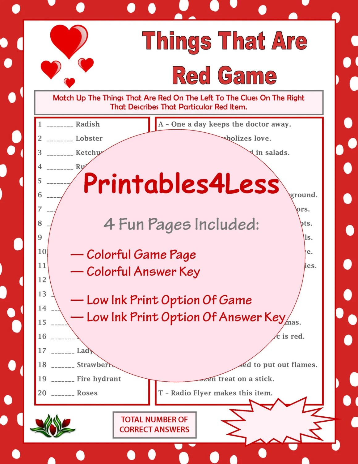 Things That Are Red Game Printable Games For Valentines