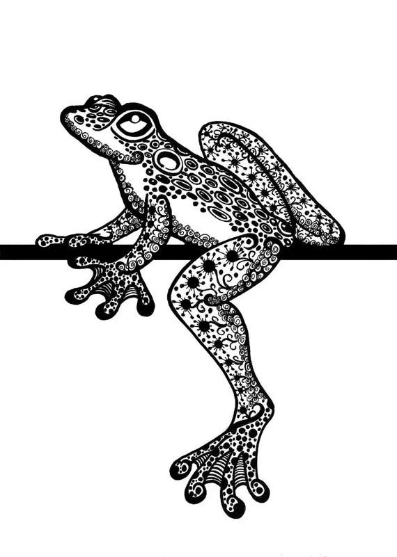 Items Similar To Zentangle Frog Tree Frog Zentangle