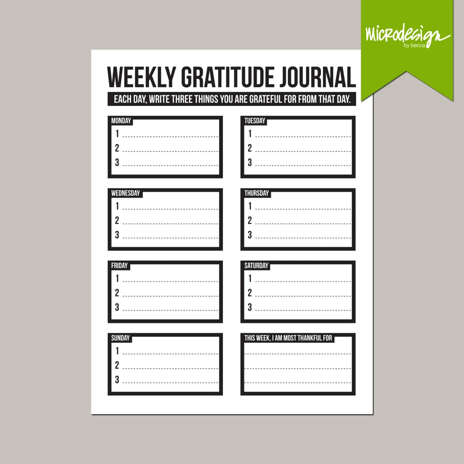 Three Little Things Weekly Gratitude Journal