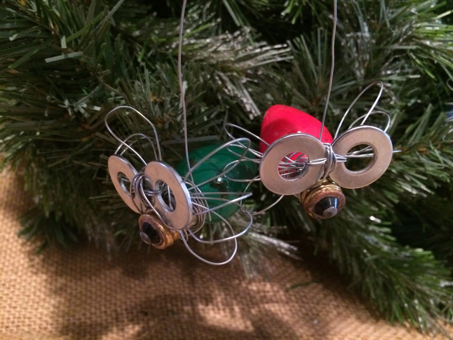 Vintage Light Bulb Bug Christmas Ornamentlightning