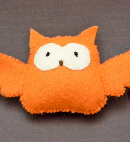 Orange Felt Owl: Hand-sewn Miniature Plush