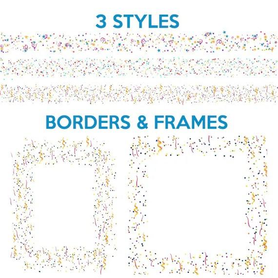 Clip And Confetti Art Streamers Borders Frames