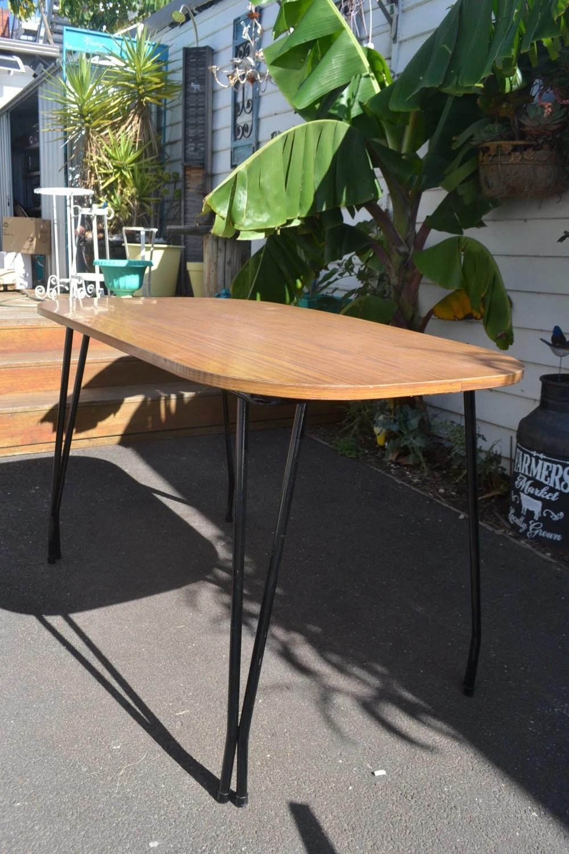 vintage retro kitchen table laminate metal legs wood grain