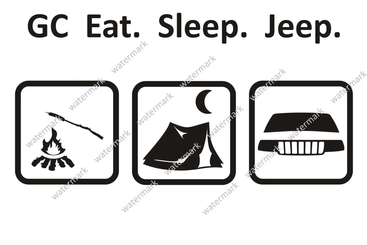 Eat Sleep Jeep Grand Cherokee Camping Decal Sticker By Robnmon