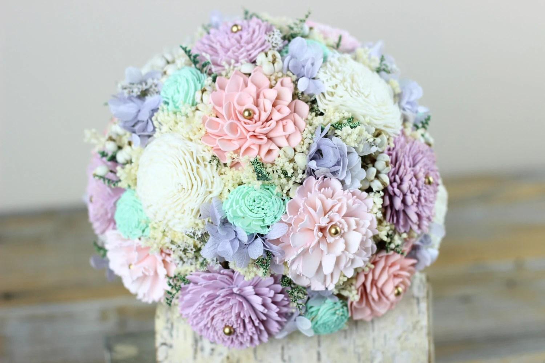 Wedding BouquetBridal Bouquet Mint Pink Lavender Sola