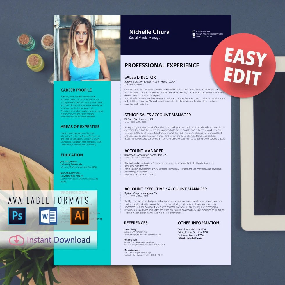 free edit resume template photo resume cv professional resume