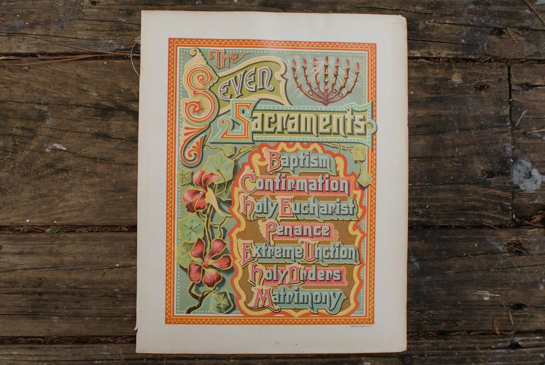 Seven Sacraments Lithograph Antique Catholic Print