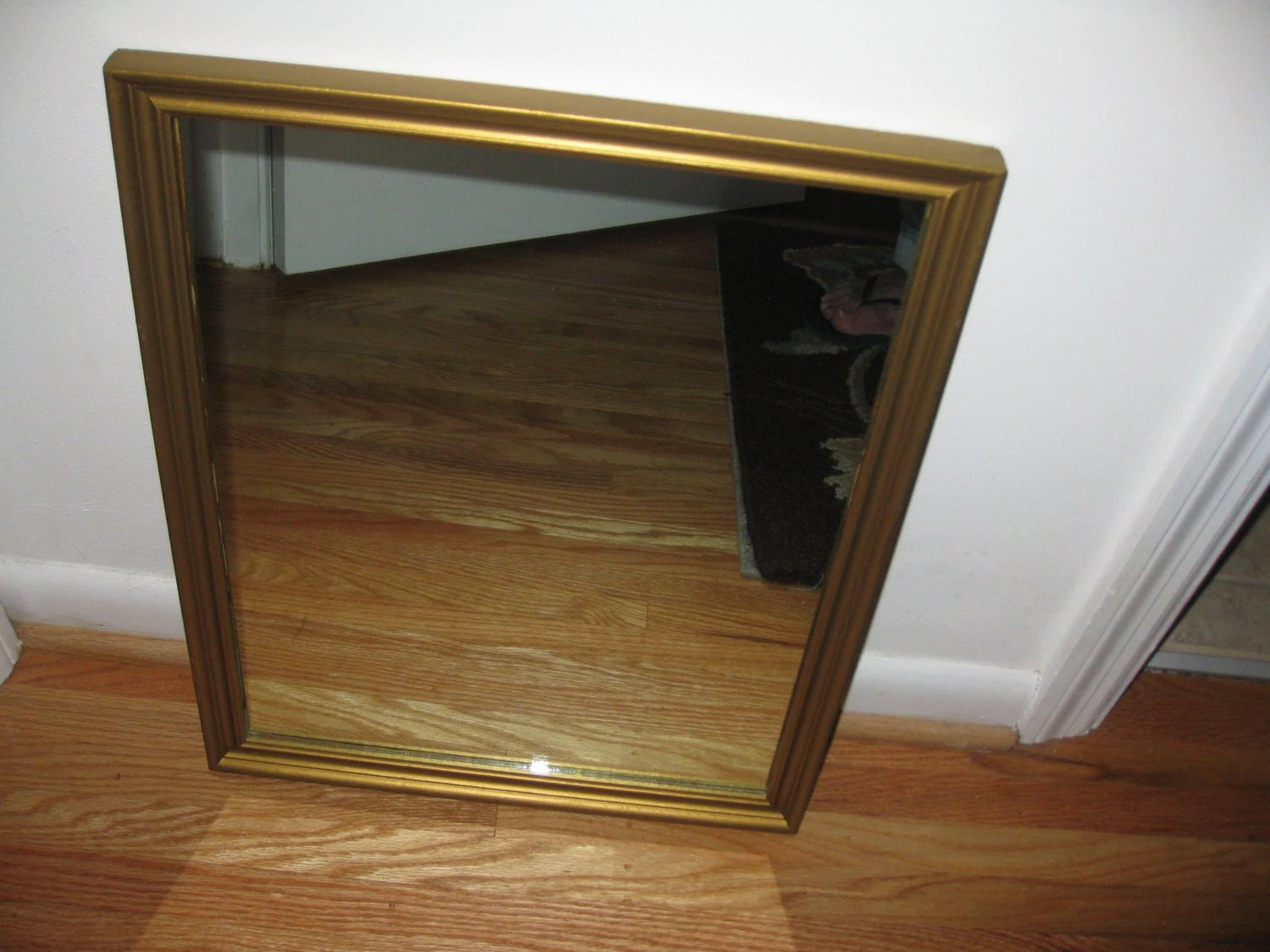 ANTIQUE WALL MIRROR 1940's Goldtone Wood Frame 15