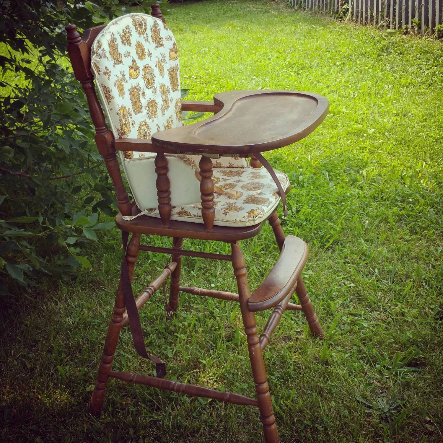Vintage wooden baby high chair with original plastic cover ...