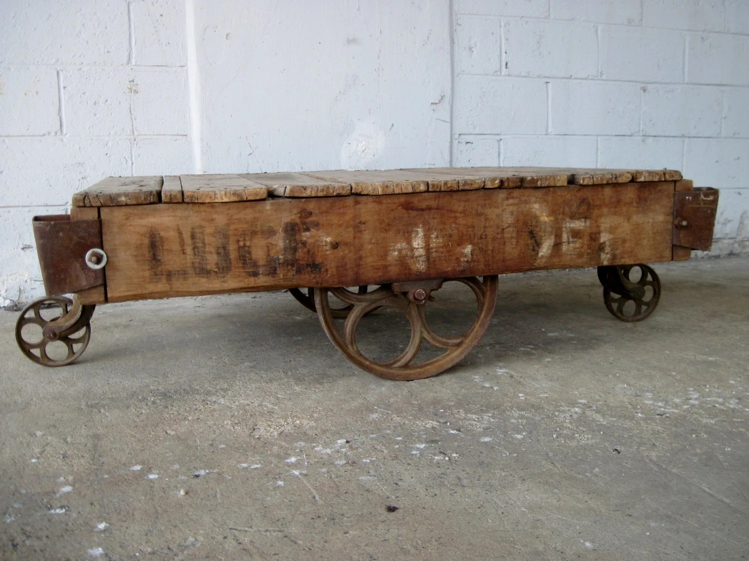 Antique lineberry factory cart industrial coffee table cast iron wheels loft decor haute juice Antique wheels for coffee table