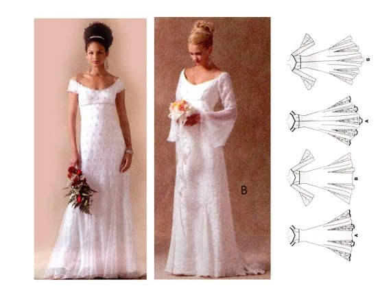 Regency Empire Waist Bridal Gown Pattern Wedding Dress Off