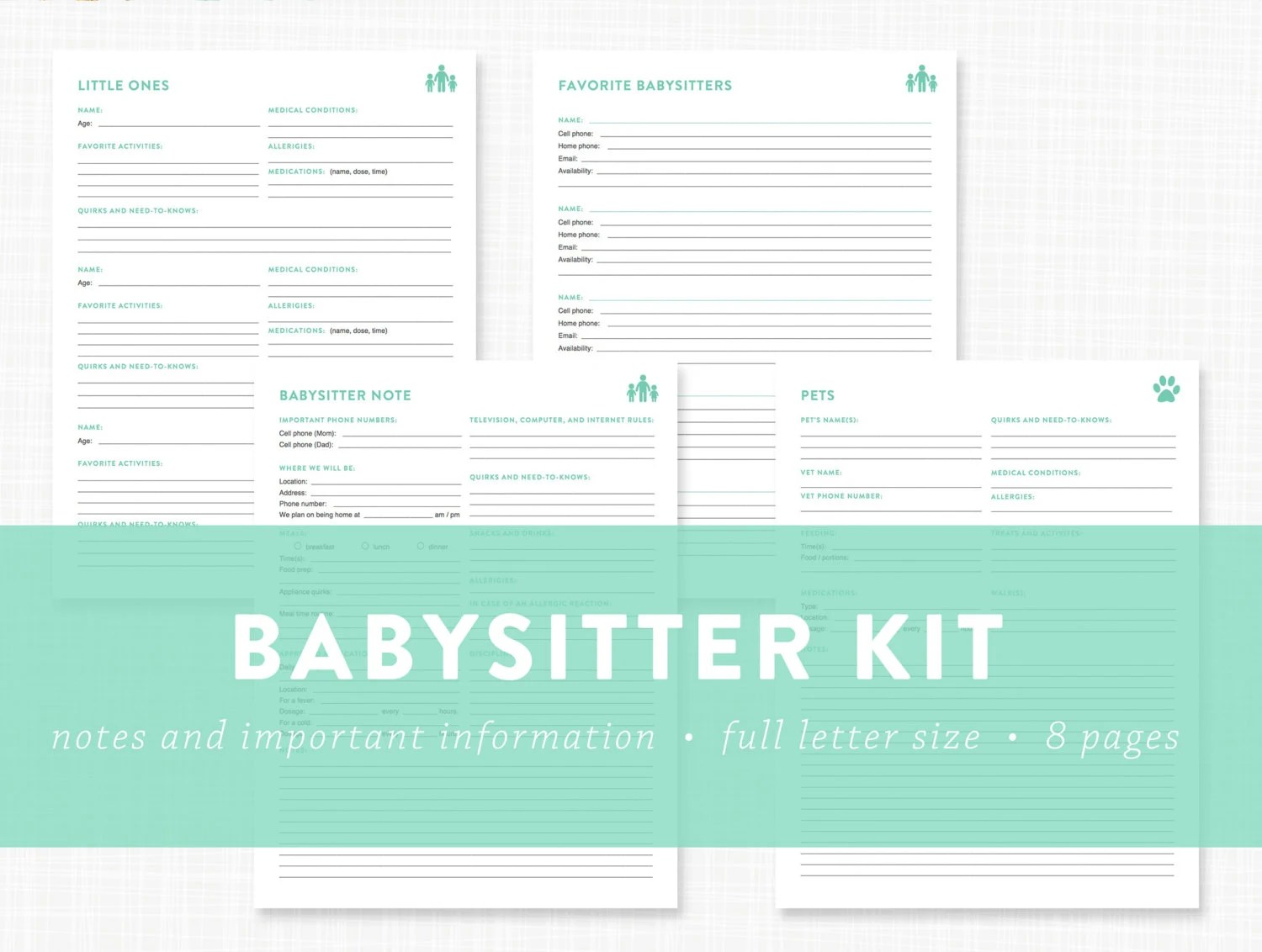 Editable Babysitter Kit Information By Lauradraytoncreative