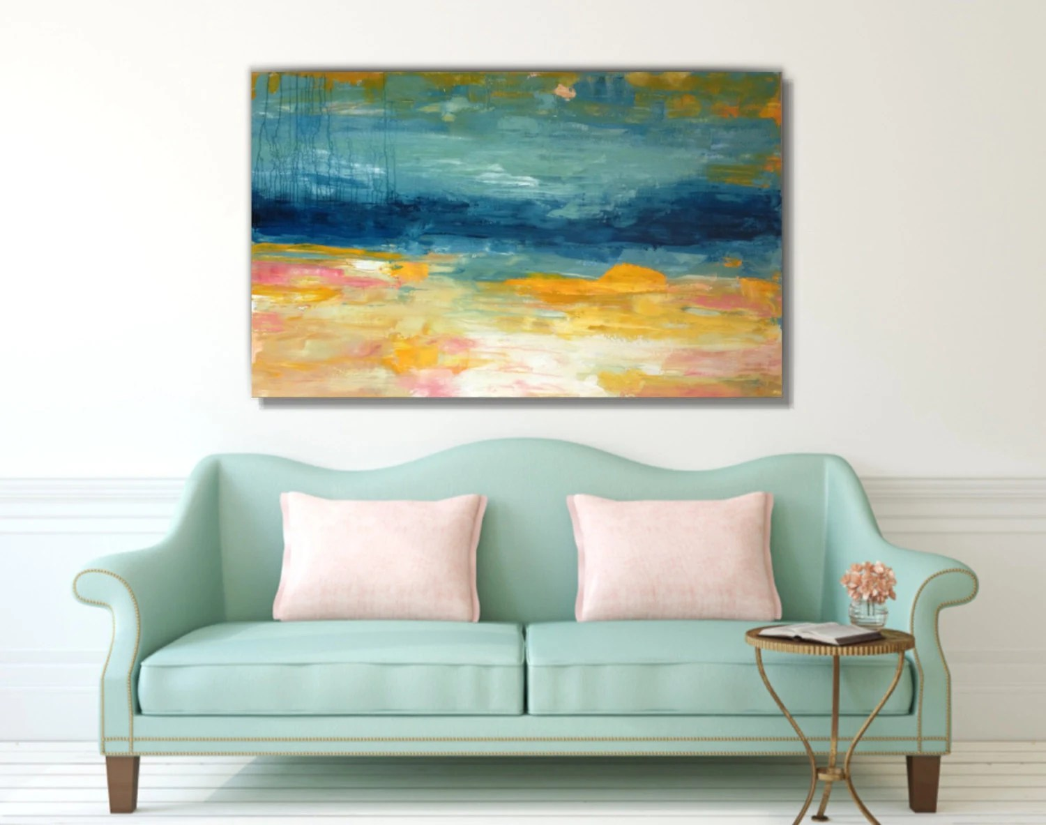Teal Abstract Painting30x48yellow Pink Abstractlarge Wall