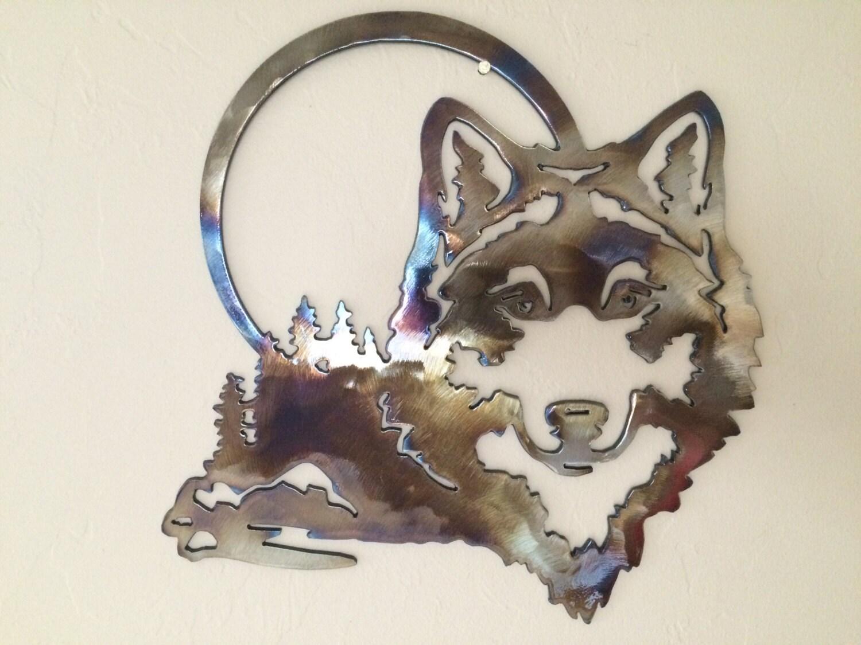 Wolf Scene W Moon Metal Wall Art Decor
