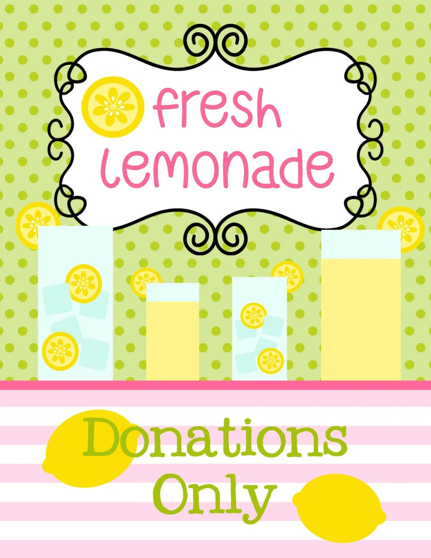 Lemonade Stand Printable Sign Sale Pink Lemonade Stand