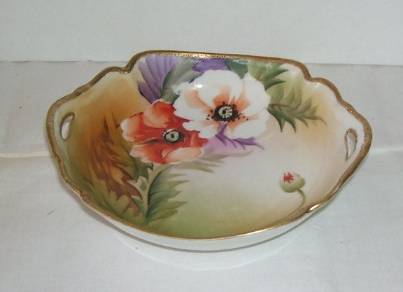 Hand Painted Nippon Candy Or Trinket Dish Green M In Wreath