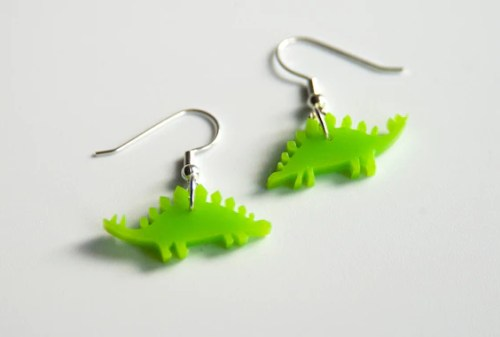 Stegosaurus Drop Earrings. Dinosaur Dangle Earrings. Jurassic World. Plastic Earrings. Animal Earrings. For her. Bridal Earrings.