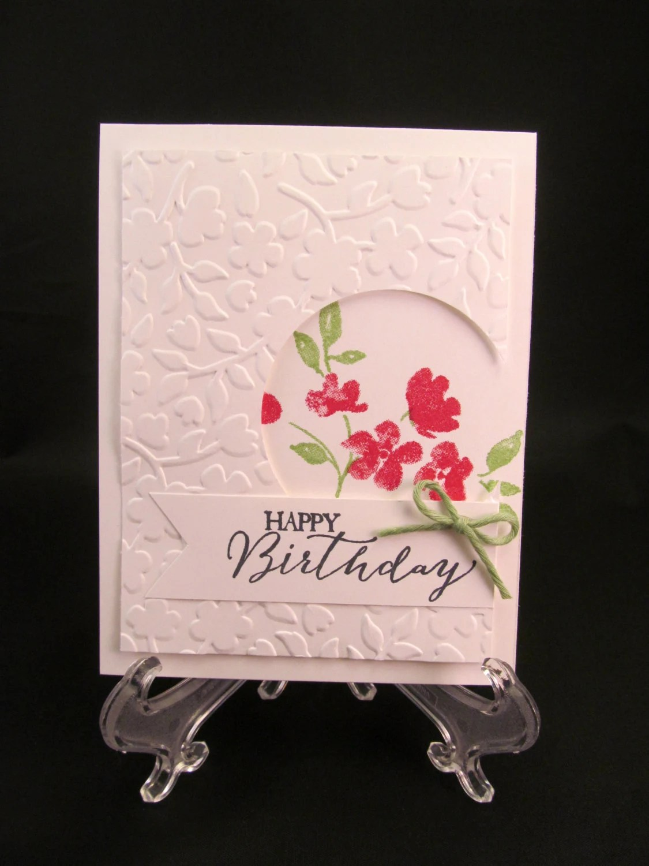 Floral Embossed Hand Stamped Greeting Card