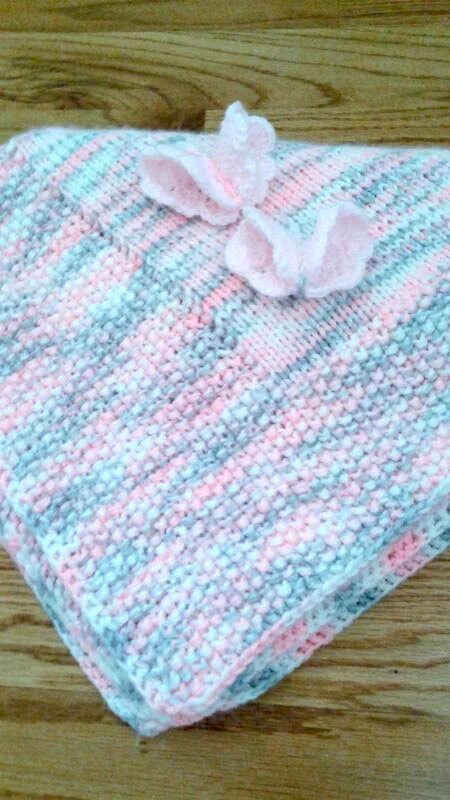 Pink Gray Knit Baby Blanket Handmade Baby Blanket Butterfly
