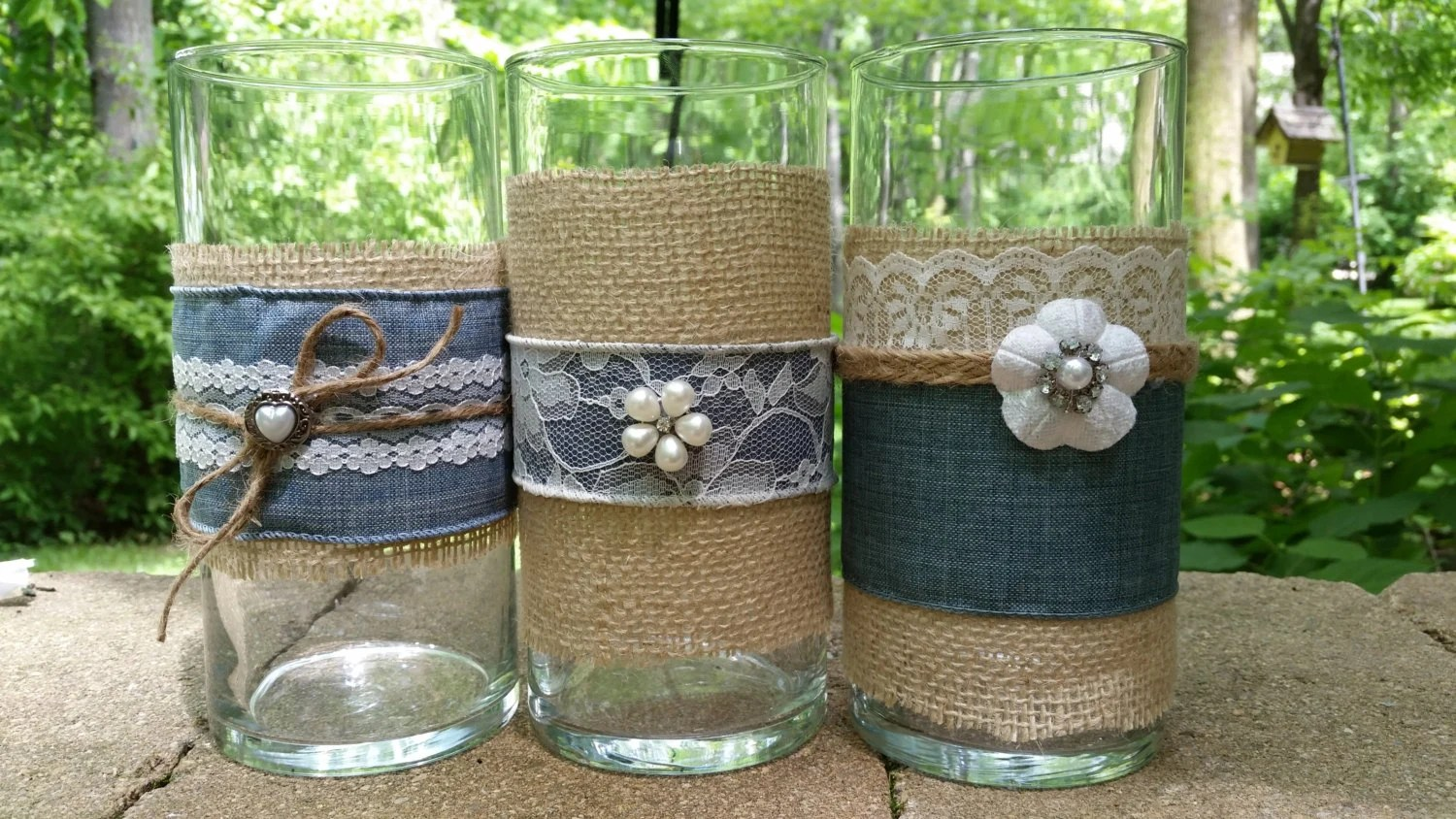 LARGE BURLAP And Lace Vase Victorian Rustic Chic Barn Country