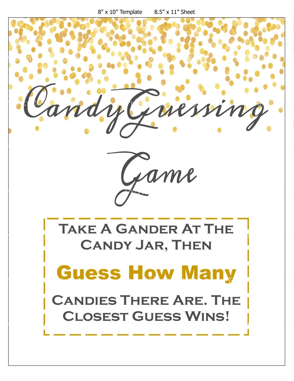 Confetti Candy Guessing Game Jelly Bean Game Printable Candy