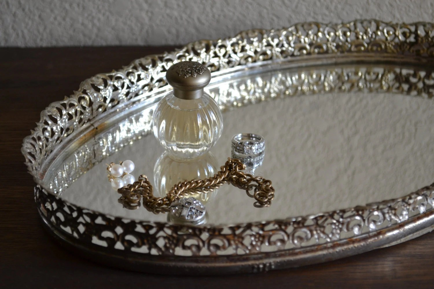 Vintage Oval Vanity Tray / Ornate Brass Silver Tone Metal With