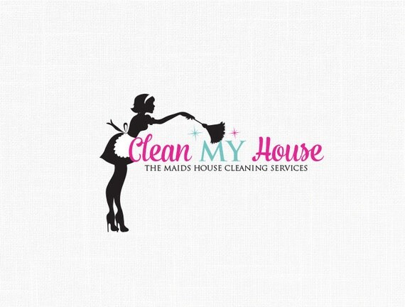 Maid Logo Design Clean House Service Logo