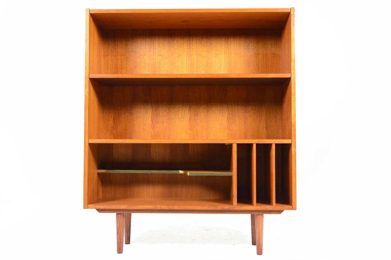 Danish Mid Century Modern Teak Bookcase With Media Storage
