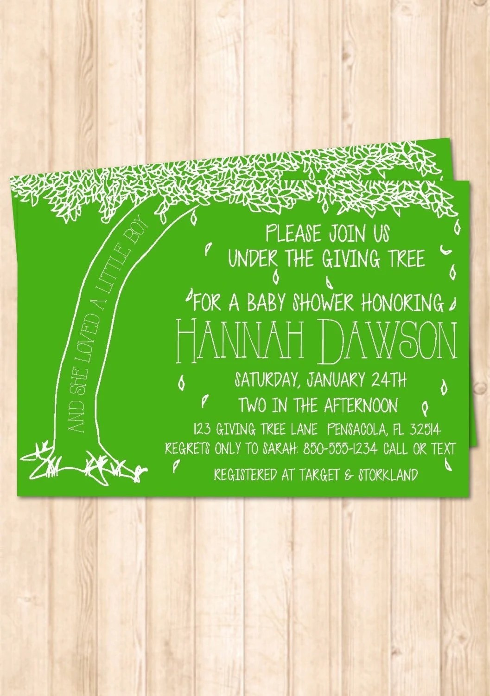 The Giving Tree Baby Shower Invitation By Handmadesmilesdesign
