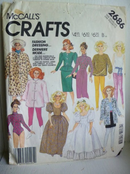 McCalls 2686 11.5 inch Barbie Maxie Fashion Dolls Wardrobe Vintage Sewing Pattern Cut Complete | Jungleland Vintage on Etsy