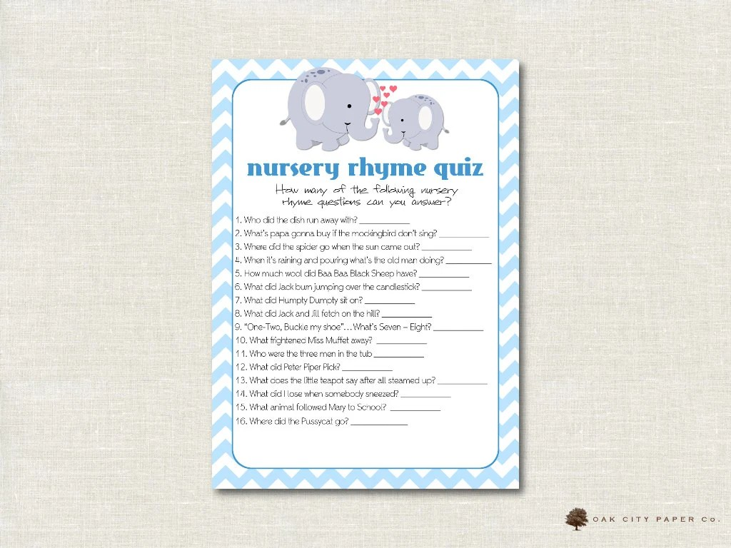 Elephant Nursery Rhyme Quiz Baby Shower Game Blue Elephant