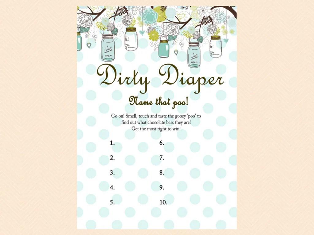 Dirty Diaper Name That Poo Chocolate Bar Game Rustic Mason