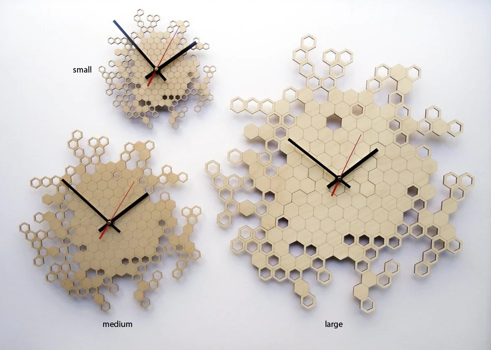 Honeycomb Original Wall Clock Small Wooden Wall Clock
