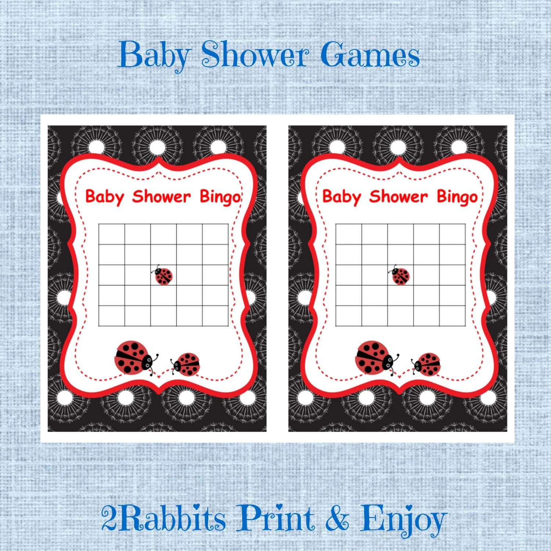 Ladybug Baby Shower Bingo Blank Cards Bingo T Baby