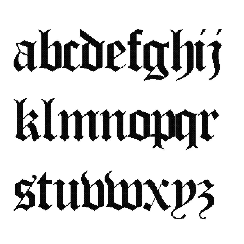 26 Letters Cross Stitch Alphabet Sampler Old English Lower