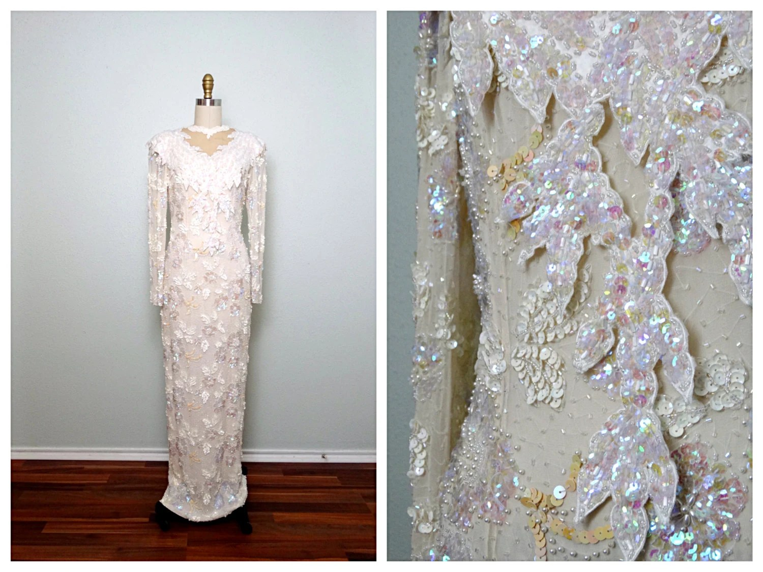 Heavy Iridescent Sequined Pearl Beaded Gown // Vintage Ivory