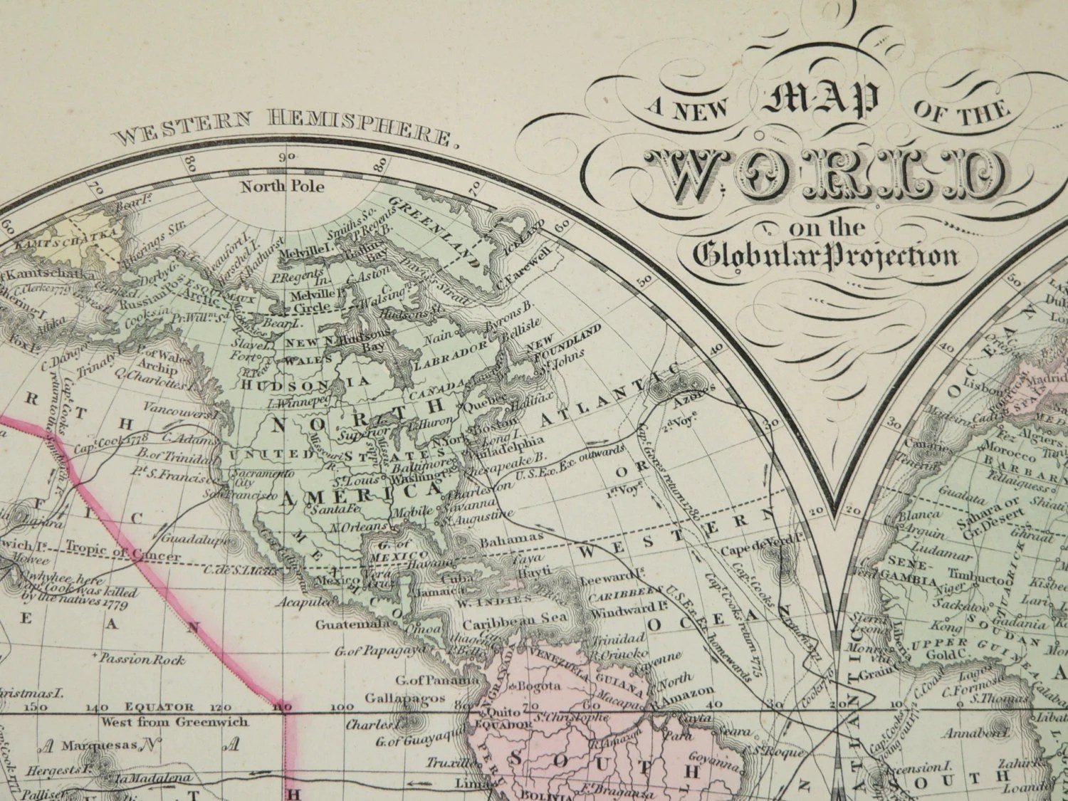 Old World Map Eastern Hemisphere Western By Oldmapsandprints