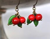 Rockabilly Sweet Cherry Pie Earrings - Vintage Assemblage