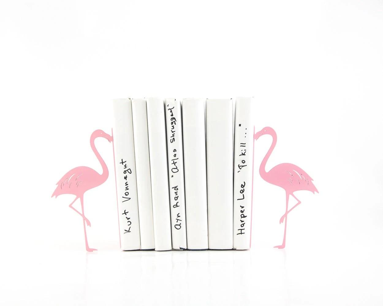 Metal Bookends Flamingos Book Holders Mod Decor Makes A