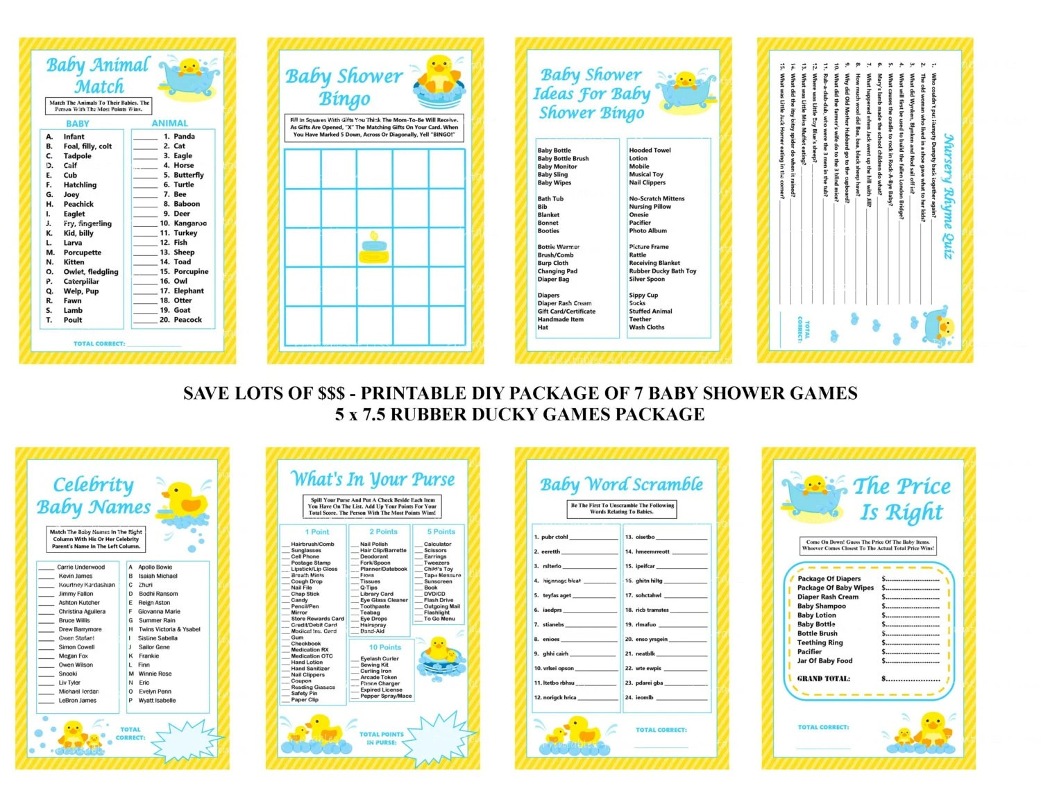 Rubber Duck Baby Shower Game Rubber Ducky By Printables4less