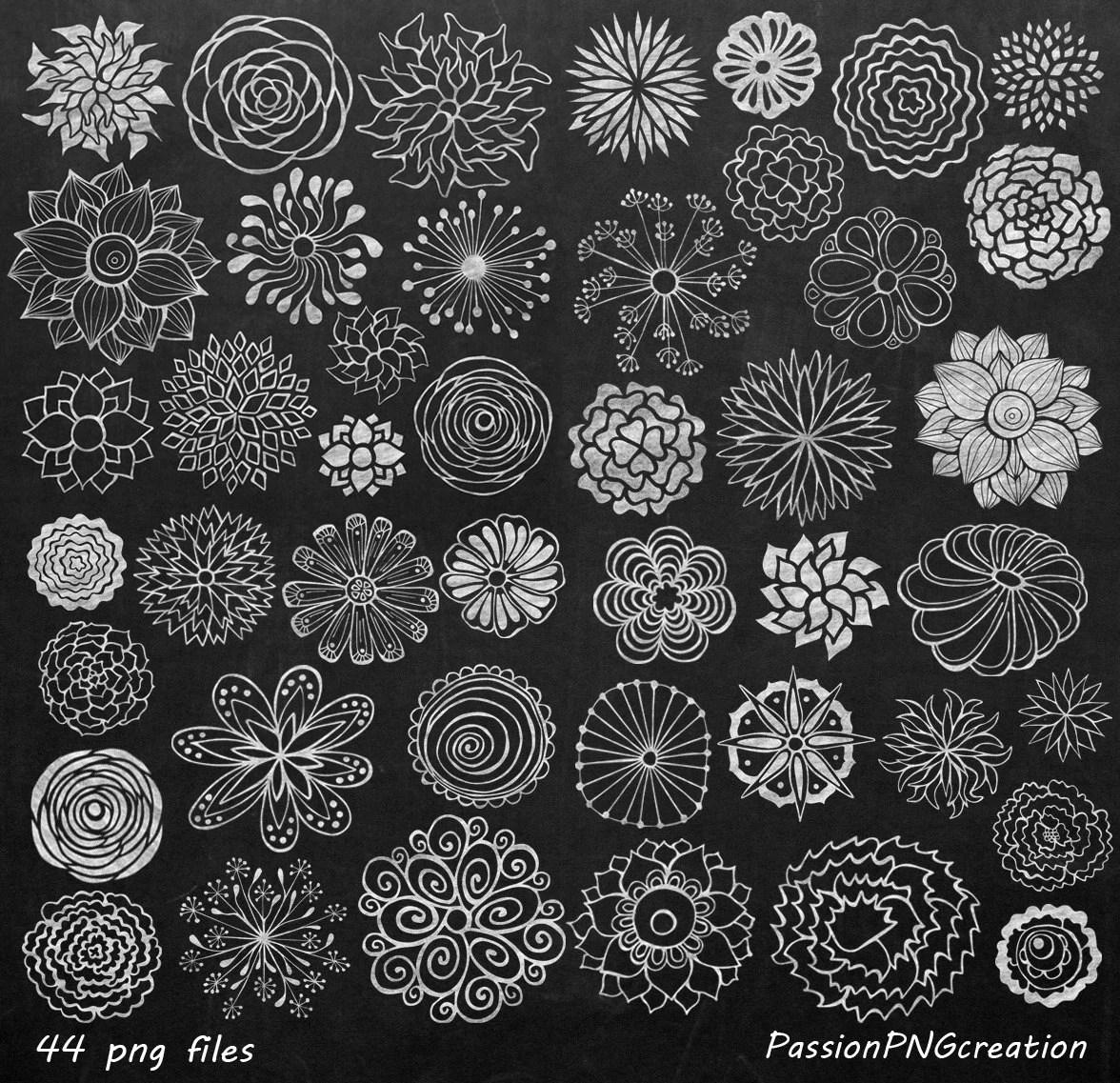BIG SET Chalkboard Flowers Clipart Hand Drawn Flowers