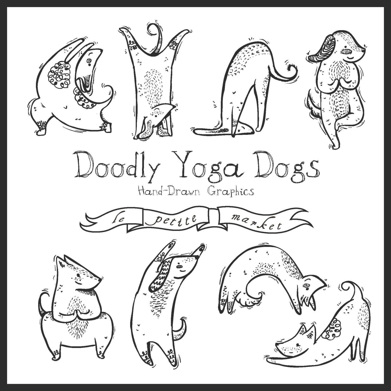 Digital Download Doodly Dog Clipart Instant Download