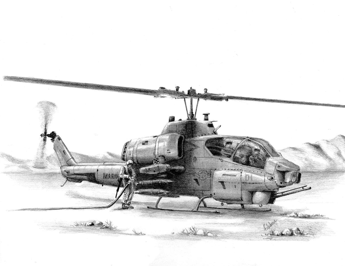 Cobra Refueling In The Field In This Print Of A Pencil Drawing