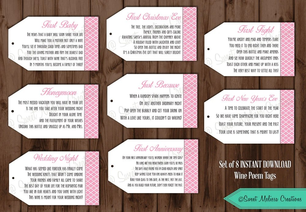 INSTANT DOWNLOAD Pink 1st Wine Poem Tags Bridal Showers