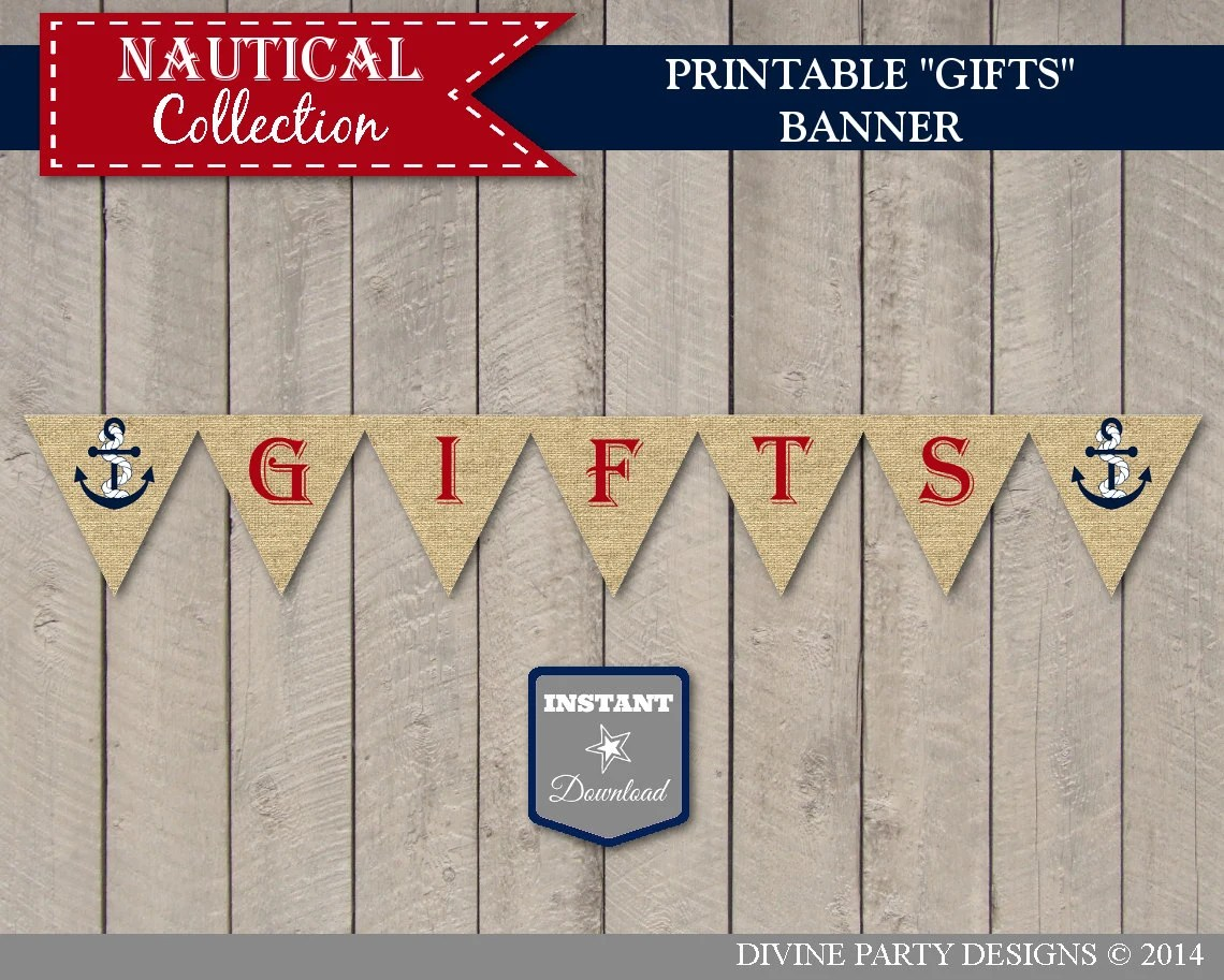 Instant Download Nautical Ts Bunting Banner Printable
