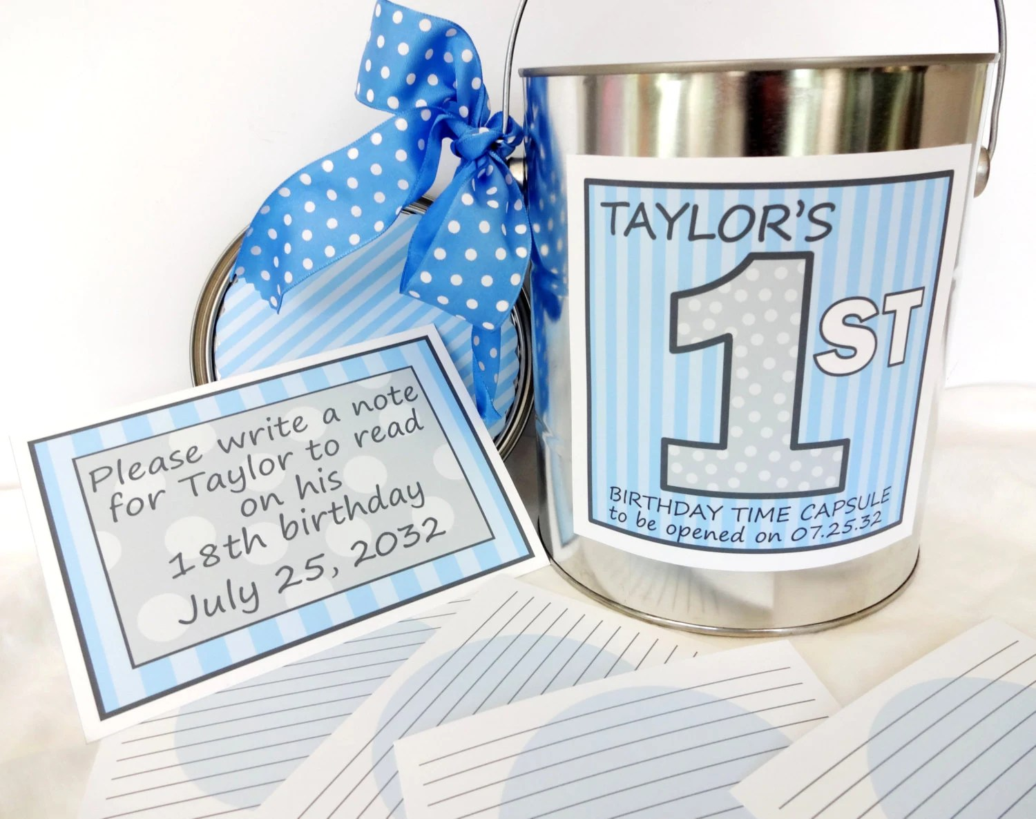 Diy First Birthday Time Capsule Printable Set For Boys Blue